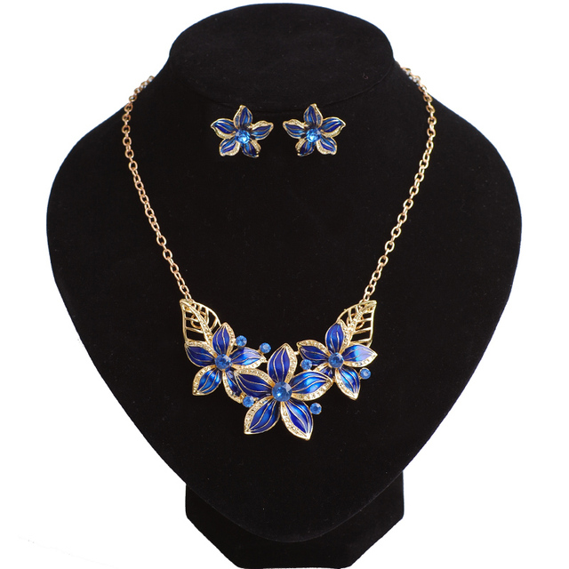 Enamel Flower Jewelry Sets Wedding Accessories Las Necklace And Earring Anniversary Engagement Costume Jewellery 4