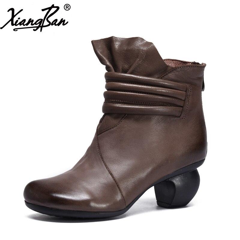 Xiangban 2019 Vintage décontracté hiver femmes chaussures velours haut talon bottines femmes noir café 36AK83