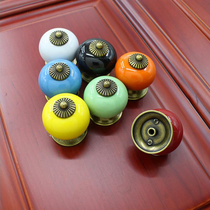 PRWAN 5Pcs/Set Retro Vintage Round Ceramics Drawer Knob Handle Furniture Accessories Cabinet Cupboard Door Pull Decor 6 Colors 8 color vintage retro ceramics drawer knob cabinet cupboard door pull handle furniture decor kitchen furniture knobs and handles