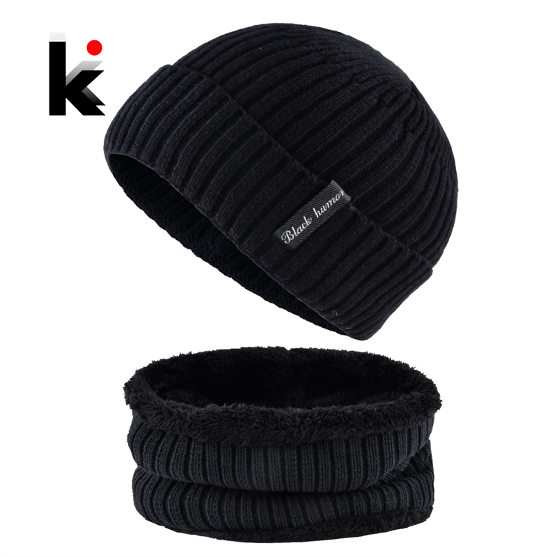 Knitted Wool Hat For Men Solid Color Knit Hats And Scarf Sets Man Winter Warm Skullies Beanies Scarves Add Velvet Bonnet Caps