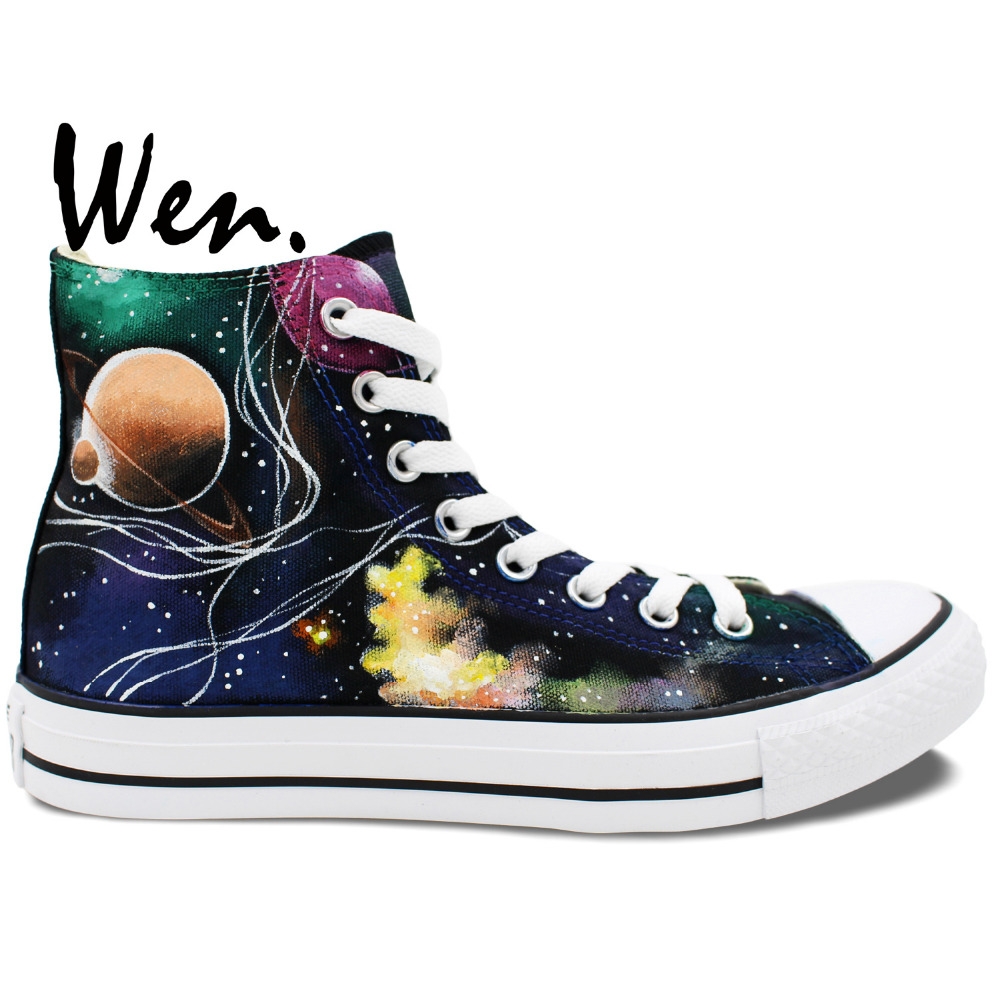 Wen Original Hand Painted Canvas Shoes Space Galaxy Tardis Doctor Who Man Woman's High Top Canvas Sneakers Girls Boys Gifts wen original design colorful lamp bulb hand painted shoes black slip on canvas sneakers for man woman s gifts presents