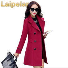 Autumn winter 2018 new fashion women's wool coat double breasted coat elegant bodycon cocoon wool long coat outwear Laipelar