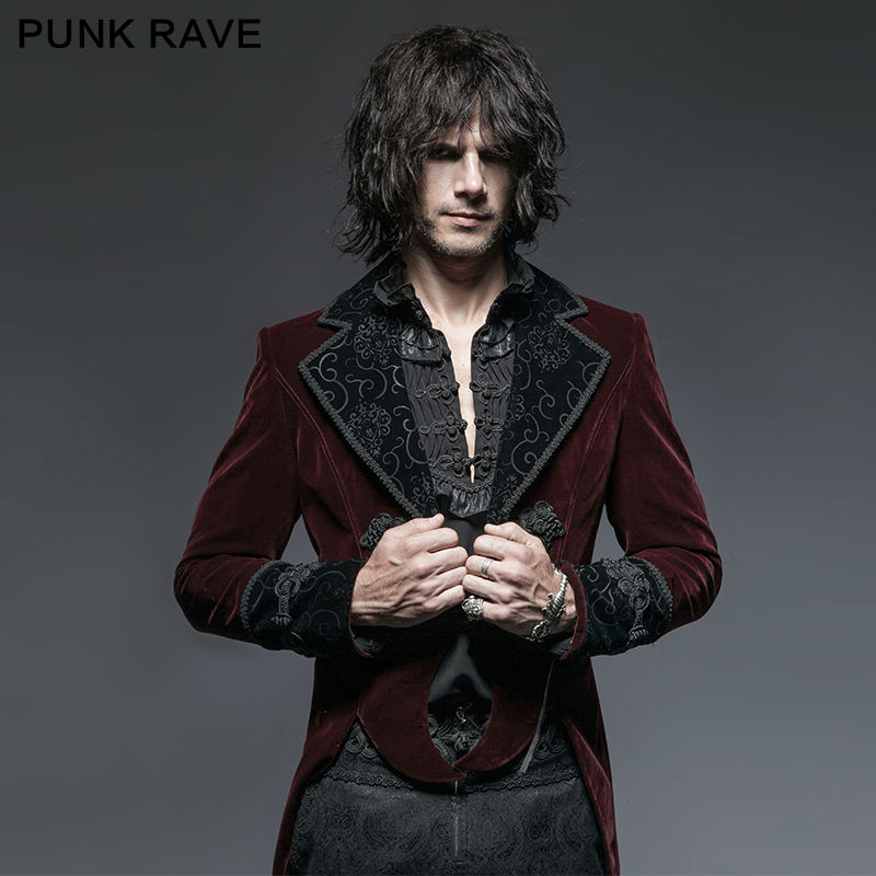 Punk Rave Red Mens Steampunk Gothic Vampire Jacket Coat Rock Gentle Tailcoat In Jackets From Clothing Accessories On Aliexpress