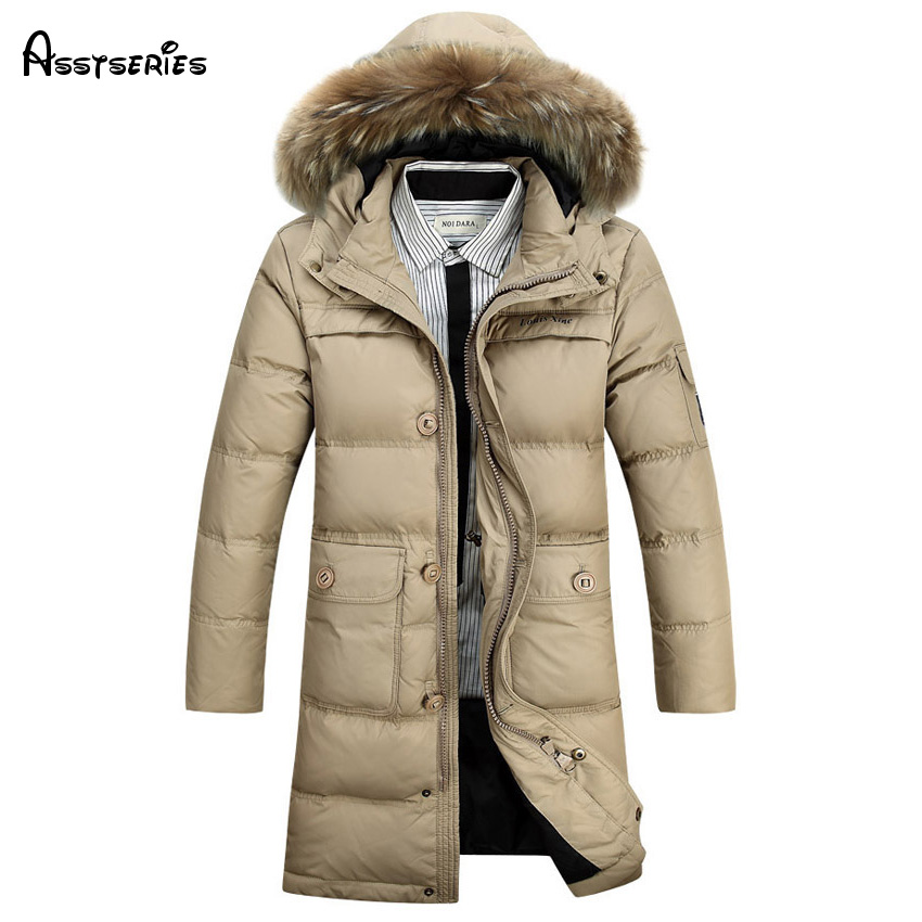 Free shipping 2018 Winter Warm Men Hooded Fur Collar Down Winter Parka Jacket Men Thick Outwear Coat 190hfx