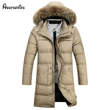 Free shipping 2016  Winter Warm Men Outdoor Hooded Fur Collar Down Parka Jacket Thick Waterproof Outwear Coat 190hfx