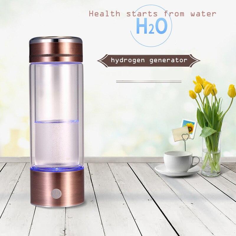 New Arrival Brand Hydrogen Water Generator Portable Hydrogen Bottle Double Glass Cup Body Alkaline Water Ionizer Bottle WAC022 wholesale lcd alkaline water ionizer