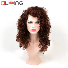 Alizing L Type Lace Wig Brown Color Synthetic Hair Front Bouncy Curly Wave Long Loose Curl lace wig k007