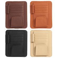 Universal Car Sun Visor Organizer Holder PU Leather Case Storage Bag for Glasses Card Receipt Holder Pouch Bag Auto Accessories