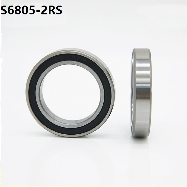 10pcs/lot ABEC-5 S6805-2RS S6805RS Bearing Stainless Steel <font><b>25x37x7</b></font> mm Deep Groove Ball Bearing 25*37*7mm 6805-2RS <font><b>6805RS</b></font> image