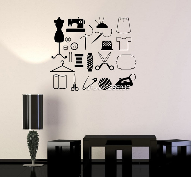 Fashion Design Tailor Atelier Wall Stickers Sewing For Women Wall - Wall decals removable