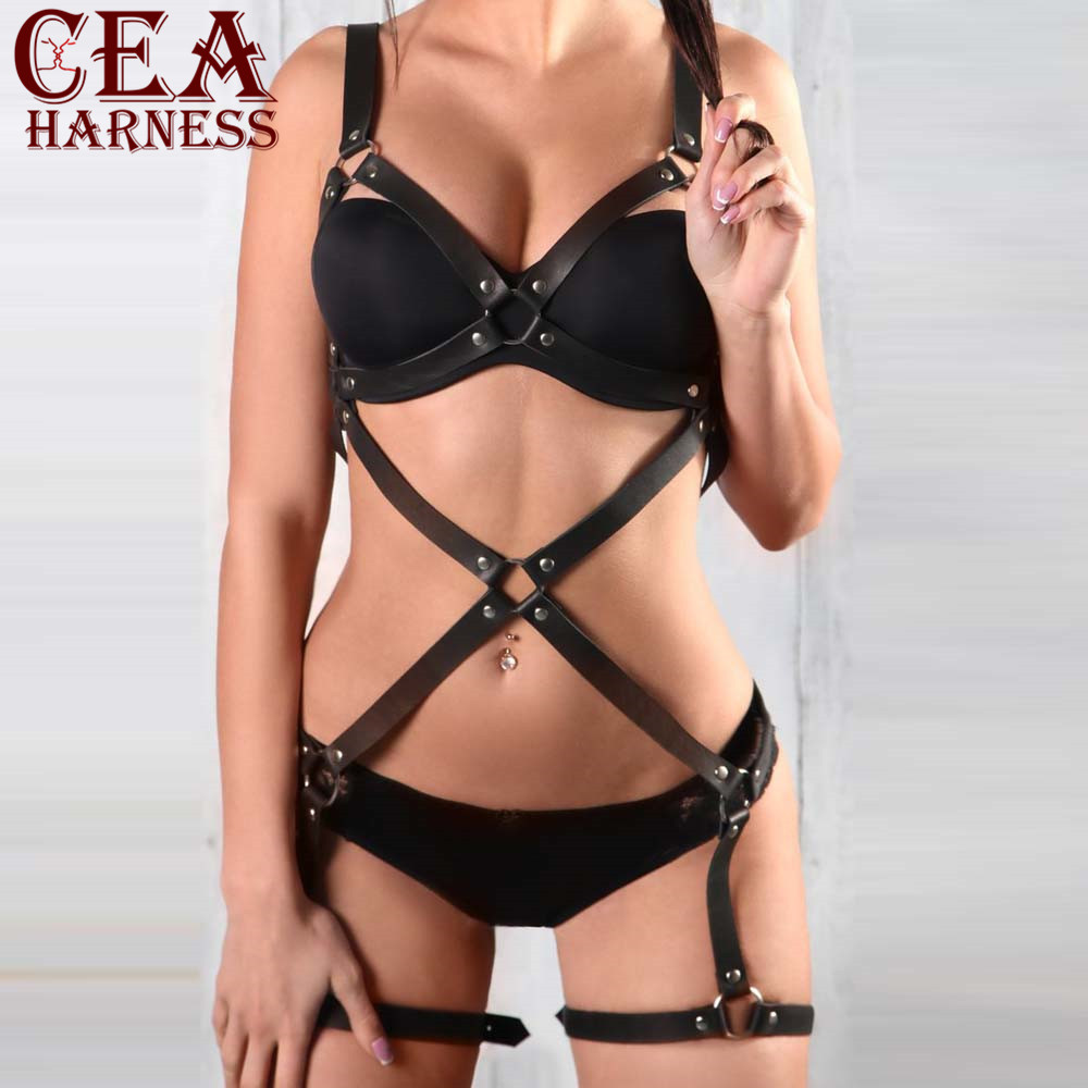 CEA HARNESS Leather Harness Underwear 2 Piece Set Garter Belts Sexy Women Waist To Leg Bondage Cage Straps Bra Garter Body Belts in Garters from Underwear Sleepwears