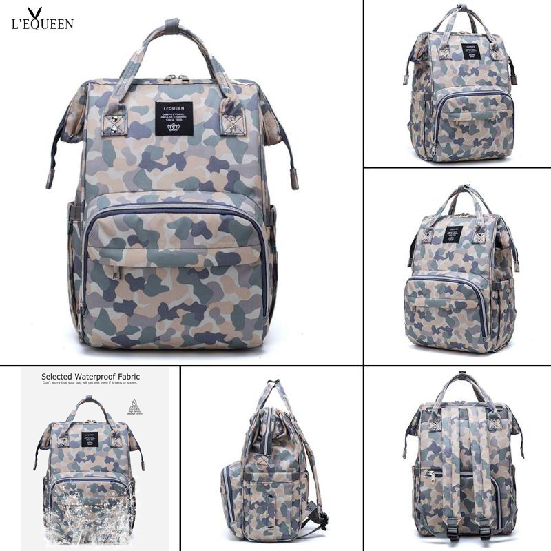 2019 LEQUEEN Diaper Bag Camouflage Summer Waterproof Nappy Mommy Bag Baby Care Travel Backpack Maternity Organizer Nappy Bag