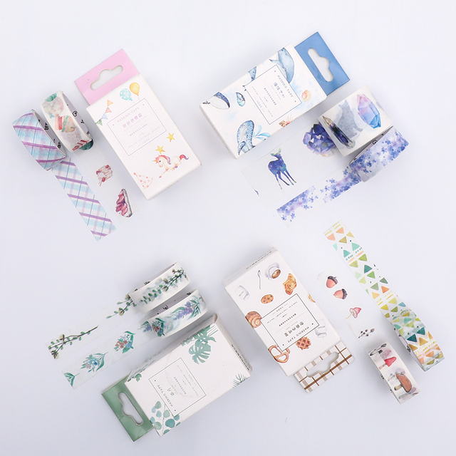 4pcs/lot Kawaii Washi Tape Set Fall Plant Masking Tape for Planner Bullet Journal DIY Stickers Scrapbooking Stationery Stickers 1