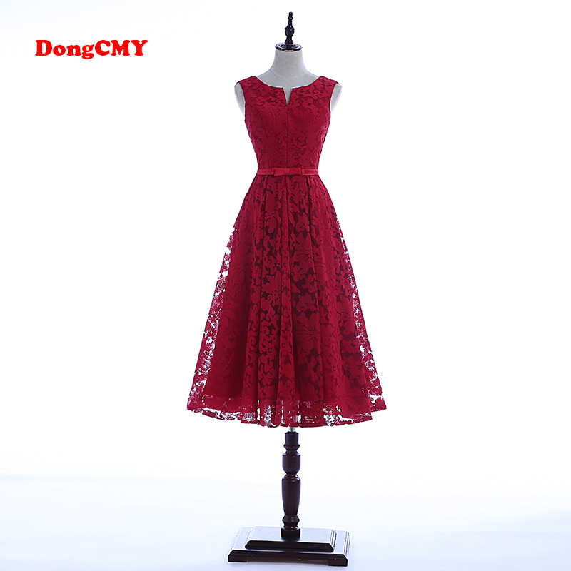 DongCMY WT0130 2019 wine red party lace new arrival fashion short elegant   prom     dresses