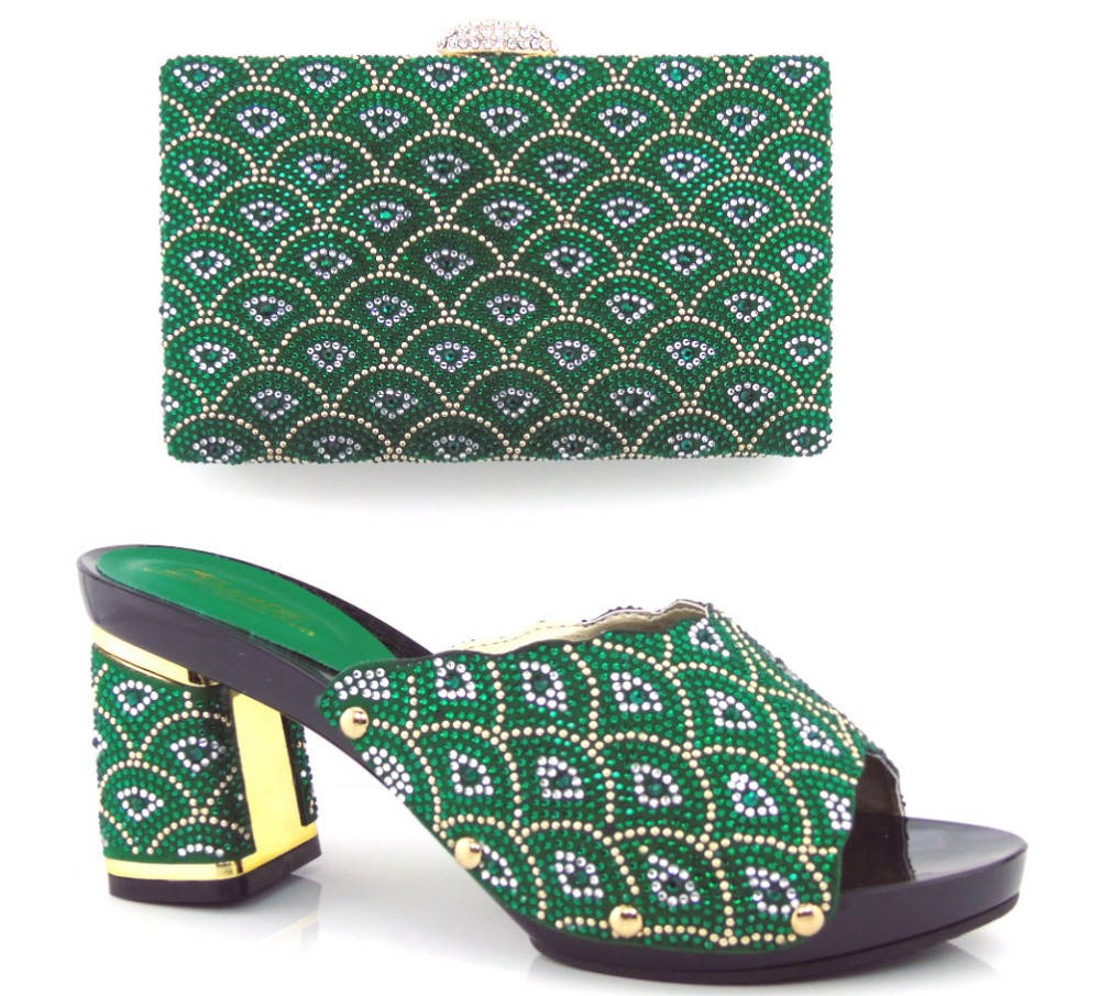 ФОТО Matching shoes and bags italy nigeria GREEN high quality african shoe and bag set for party in women MQQ1-24