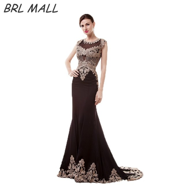 BRLMALL Stunning Black Mermaid Evening Dresses Gold Lace Appliques cap  short sleeves long prom dress party gown vestido de festa af38e207edcd