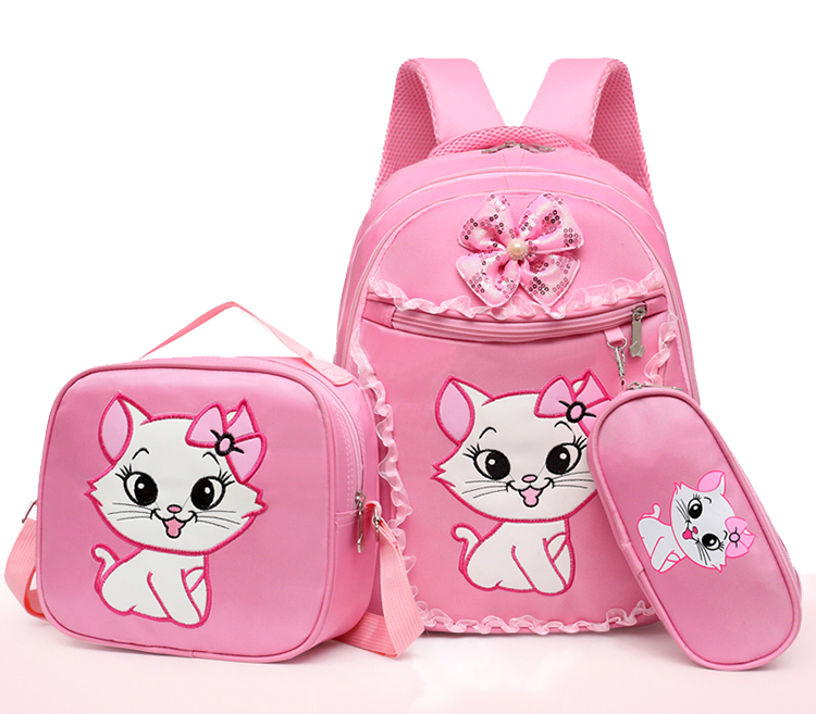 Pink Marie Cat Cute Girls Backpack School Bag With Lunch and Pencil Case Set 3 for