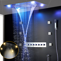 Luxury Most Complete Shower Faucets Set 6 Functions Shower System Recessed Rain Shower Panel Waterfall Body Jets Massage