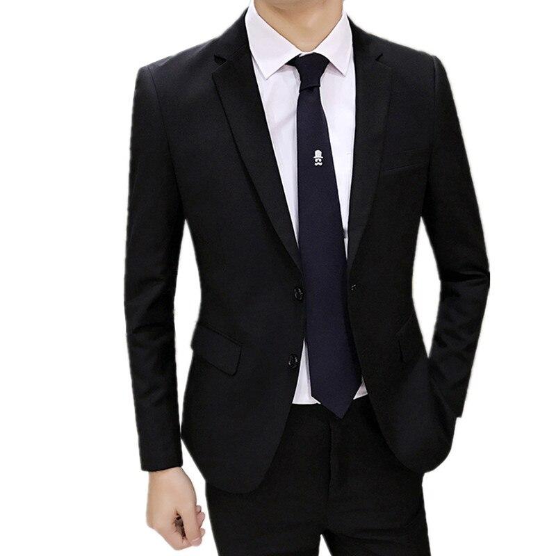 Пиджаки Брюки 2 шт. комплекты/2018 новые модные мужские повседневные бутик бизнес Свадебные Жених пиджак брюки костюмы пальто