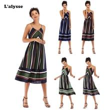 LALYSSE 2019 Spring Summer Dress Womens Clothing V-neck Spaghetti Strap Chiffon Fabric Vintage Style Midi Slim Sexy