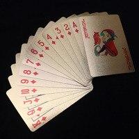 5 pcs/lot 24 K Feuille D'or Plaqué Poker Cartes À Jouer Premium Mat En Plastique Conseil Jeux Cartes À Jouer Pour Le Cadeau Collection