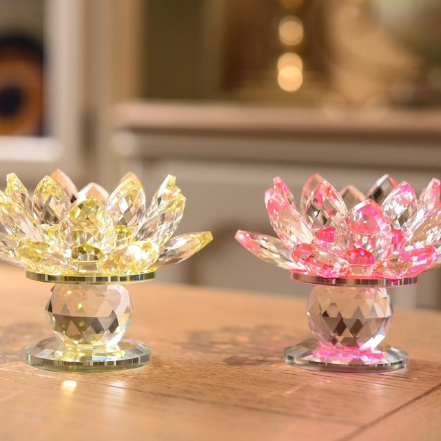3 Style Crystal Glass Lotus Flower Candle Holder (8 Colors) 4