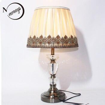 Современный арт-деко ткань Хрустальный Настольный светильник винтажный E27 LED 220В креативная настольная лампа для чтения прикроватный домаш...