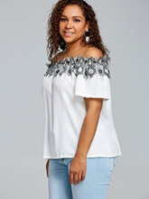 Women's Rustic Style Off Shoulder Blouse with Floral Appliques