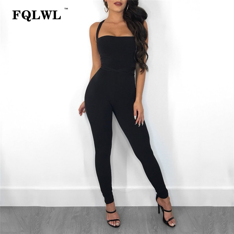 FQLWL Lace Up Sexy Bodycon Jumpsuit Summer Romper Women Spaghetti Strap Backless Bandage Black Jumpsuit Elegant Paltsuit Overall