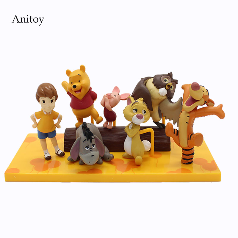 Cartoon Tigger Piglet Eeyore Winnie PVC Figure Collectible Toy 3.5-10cm KT4065 floveme q5 bluetooth 4 0 smart watch sync notifier sim card gps smartwatch for apple iphone ios android phone wear watch sport