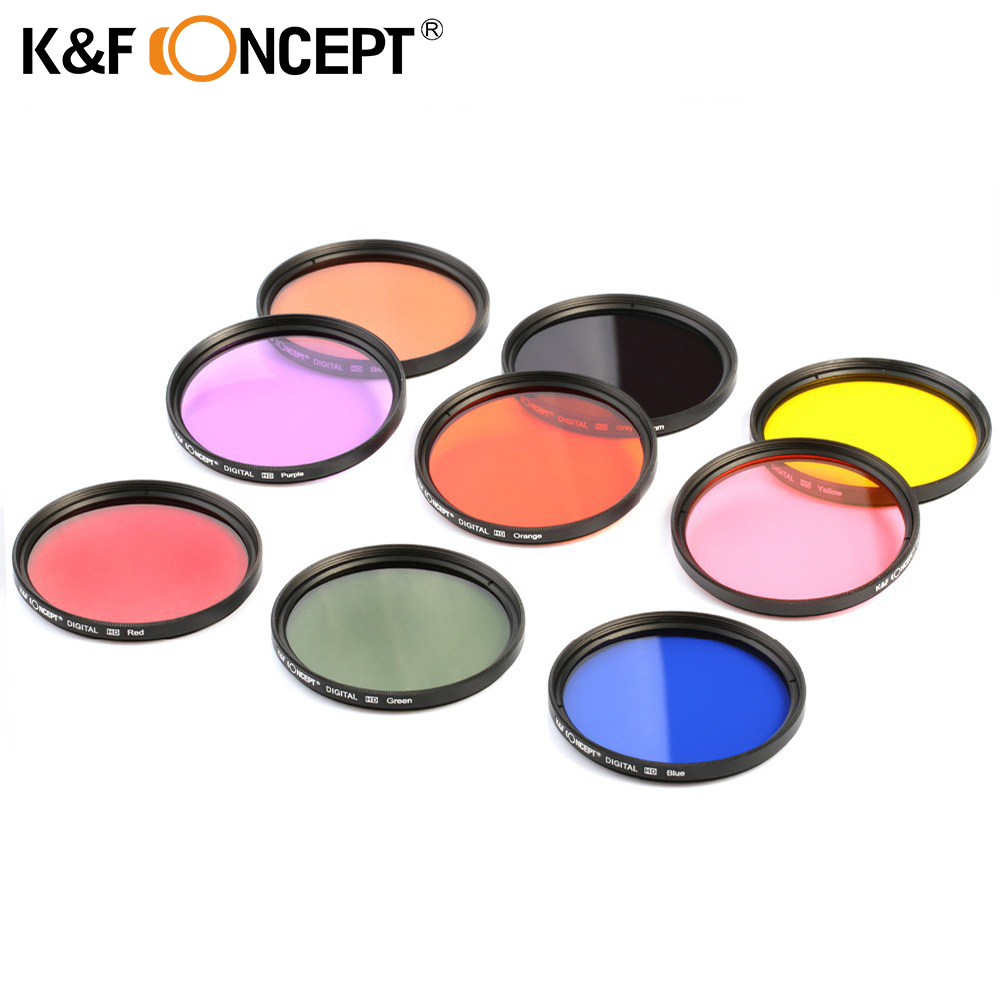 K&F CONCEPT 9pcs 52/58/67mm Full Color ND Lens Filter Kit for all 52/58/67mm Camera Lens Grey Green Yellow Pink Purple Brown