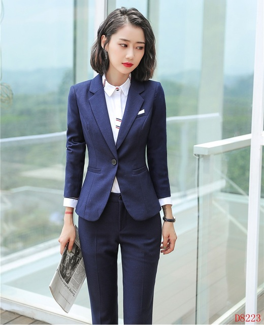 New 2019 Formal Ladies Navy Blue Blazer Women Pant Suits Work Wear