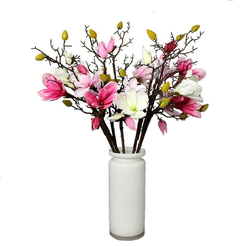 Silk Magnolia Artificial Flowers Real Touch Home Vase Decor Wedding Bridal Bouquet 83cm Long Fake Flower