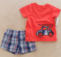 boys clothes 2017 toddler baby boy clothing sets Cartoon car T shirt + Plaid pant autumn summer boys 2pcs red boy clothes sets