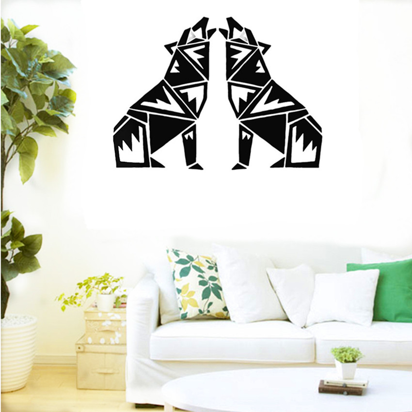 cacar new design geometry wolf wall decals abstract animal series decals geometry vinyl wall art custom - Wall Decals Designs