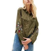 2017 Autumn Fashion Women Amy Green Colorful Floral Embroidery Blouse Dashing Pockets Long Sleeve Turn Down