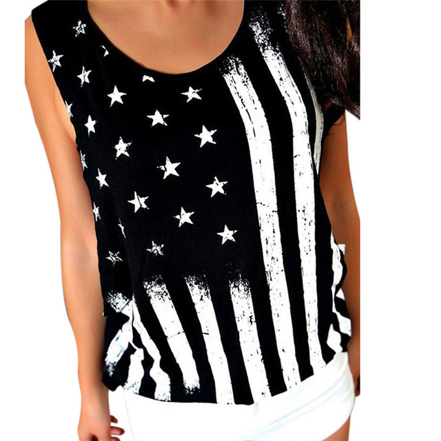 8e7d881860 1PCS Women Tank Tops 2018 Summer Women Print American Flag Sleeveless Tank  Crop Tops Vest Blouse T-Shirt Plus Size Black Jane 5