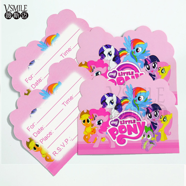 10pcslot My little pony Theme Party Invitation Card Supplies Kids