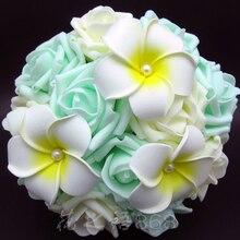 Новое прибытие Искусственные цветы для невесты Руки держа розовый/слоновой кости/зеленый цветок розы свадебный букет