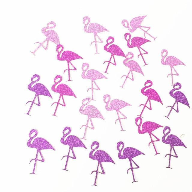 100 piezas decoración Flamingo brillo pegatinas de papel de Flamingo y piña y confeti de cumpleaños/despedida de soltera/fiesta decoración de la boda