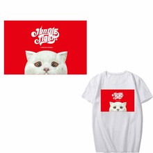 Cute Cat Patch Iron on Transfer Letter Patches for Clothing DIY T-Shirts Applique Washable Heat Transfer Vinyl Stickers Press цена