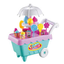 Baby Girls Plastic Mini Ice Cream Candy Trolley Desserts Shop Music and Lights Cart Toys Role Play Food Games For Children