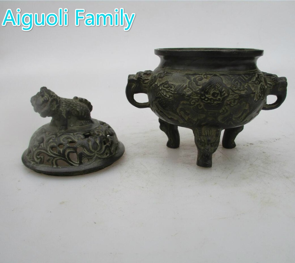 Art Collection Home Living Room Decorative Metal Censer, Chinese Old Bronze Handmade Qing/Ming Dynasty Incense Burner
