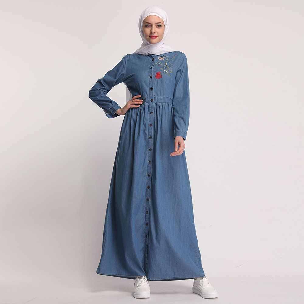 ОАЭ Дубай новые современные Isalmic мусульманские женщины вышивка цветок Макси джинсы платье одежда abaya плюс размер