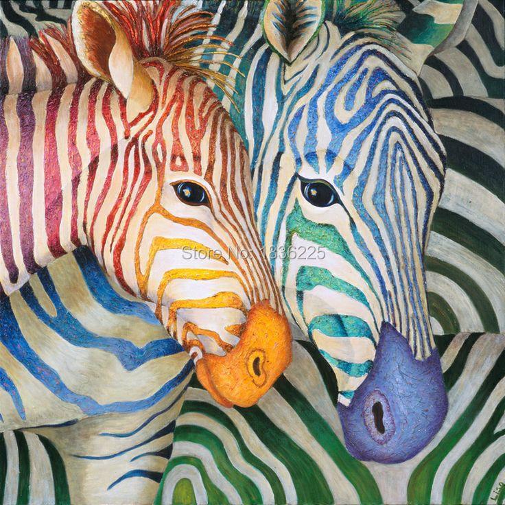 Peintures à l'huile de couleur vive abstraite zèbre peinture animaux toile peinture à l'huile mdf art mural pour ensembles de chambre à coucher décorés