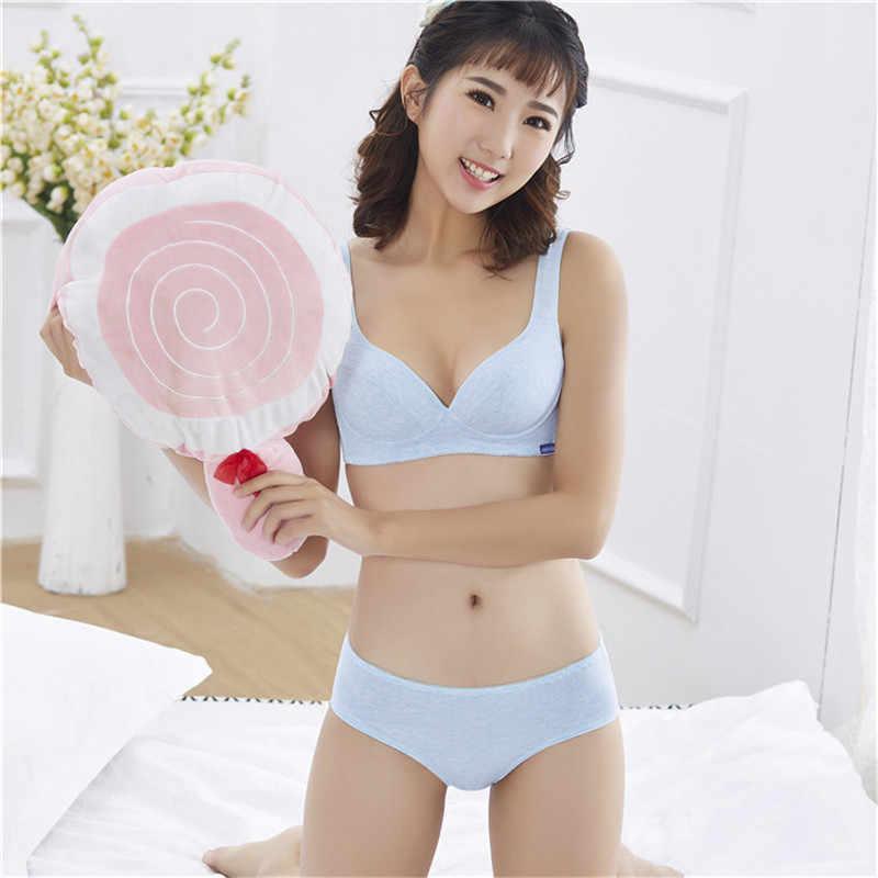 515867881 ... 2018 New Cotton Bra Young Girl Underwear Girls Puberty+Panties  Adolescentes Sweet Student Bra Set