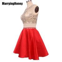 Crystal Junior Red Prom Dresses Short 2 Piece Evening Dress Vestidos De Graduacion Cortos Vestido De