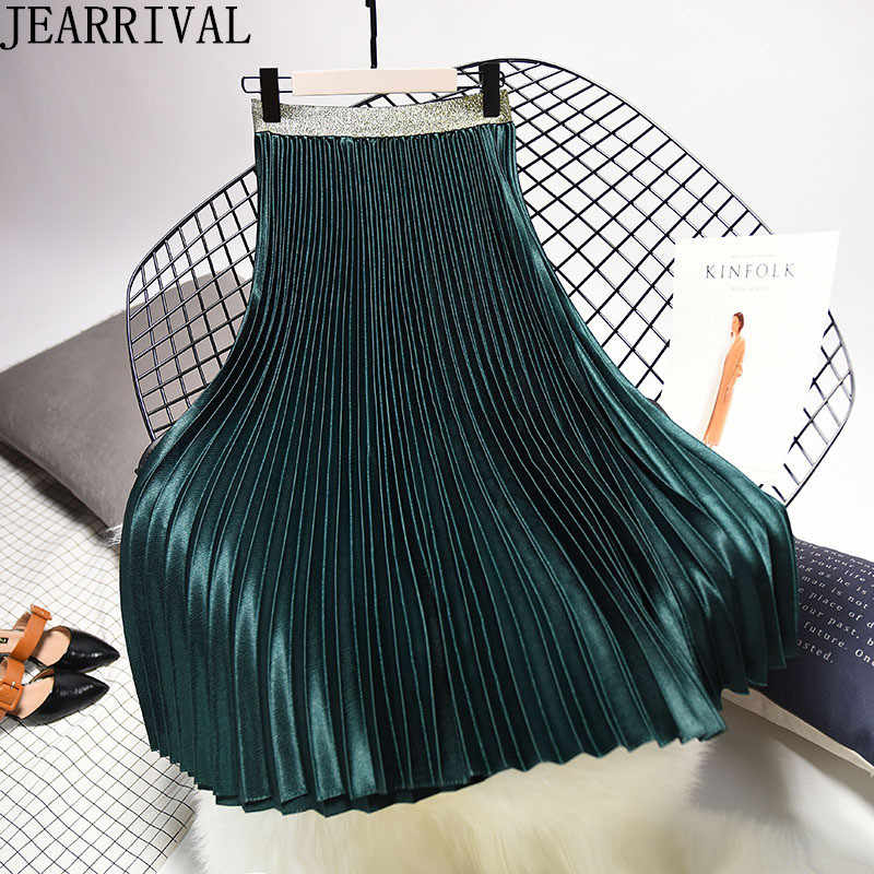 7245db2d0 Spring Fashion Pleated Skirts Womens 2019 Elastic High Waist Skirt Black  White Long Skirt Ladies Vintage