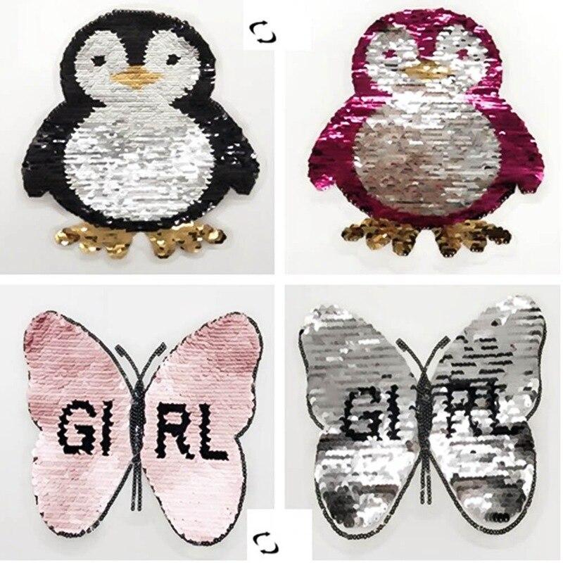 Pingüino lindo cambio Reversible Color lentejuelas coser en parches ...