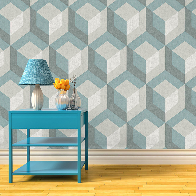 Rustic Wood Tile BlueDark GreyBeigr Geometric Wallpaper For Walls 3D Stereoscopic Wall